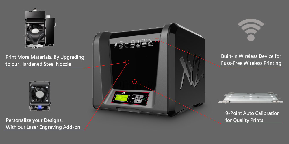 Here you can see the compact XYZprinting da Vinci Junior Wifi Pro 3D Printer. It comes with Wifi, high resolution, optional laser engraving and is perfect for your desk.